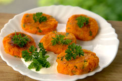 Vegetarian Carrot cutlets with herbs. On a white plate Royalty Free Stock Photos