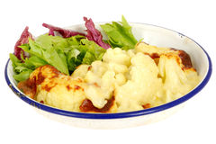 Vegetarian Cauliflower Cheese with Salad Stock Images