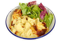 Vegetarian Cauliflower Cheese with Salad Royalty Free Stock Photography