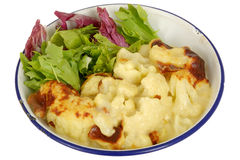 Vegetarian Cauliflower Cheese with Salad Stock Photos