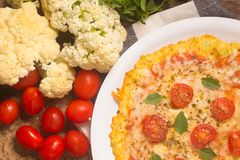 Vegetarian Cauliflower Pizza. royalty free stock images