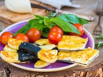Vegetarian cheese appetizer on wooden background Royalty Free Stock Photo