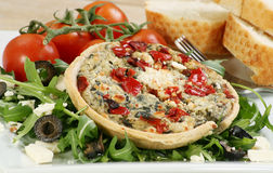 Vegetarian cheese and red pepper tart Stock Images