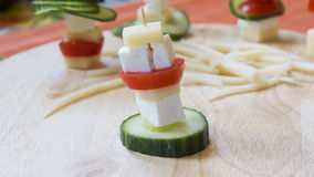 Vegetarian cheese skewers Stock Images