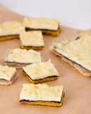 Vegetarian cheese snack. Cut on slices Stock Photo