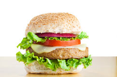 Vegetarian Cheeseburger on Table Royalty Free Stock Photo