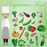 Vegetarian and chef Stock Photography