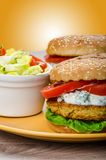 Vegetarian chickpea burger Royalty Free Stock Photography