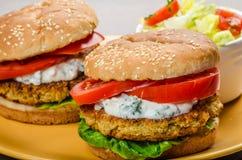Vegetarian chickpea burger Royalty Free Stock Photos