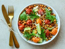 Vegetarian chickpea salad. Nutritious, vegetables. stock image