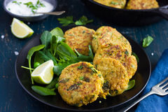 Vegetarian chickpeas and spinach  fritters with garlic herb yogu Royalty Free Stock Photography