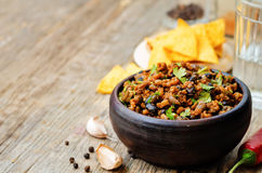 Vegetarian chili with cilantro Stock Photography