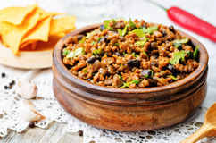 Vegetarian chili with cilantro Stock Images