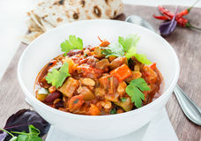 Vegetarian chilli with red and white beans Royalty Free Stock Image