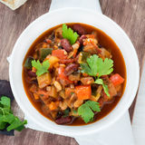 Vegetarian chilli with red and white beans Royalty Free Stock Photo