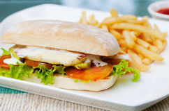 Vegetarian Ciabatta with tomatoes, grilled cheese haloumi, avocado and lettuce with french fries Stock Photo