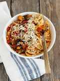 Vegetarian Comfort Food. Spaghetti with Aubergine and Tomato Royalty Free Stock Image