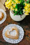 Vegetarian coockie in form of heart. Sweet Vegetarian coockie in form of heart Royalty Free Stock Photo