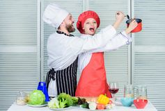 Vegetarian. cook uniform. man and woman chef in restaurant. Family cooking in kitchen. Dieting vitamin. culinary cuisine royalty free stock images