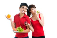 Vegetarian couple Stock Images