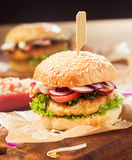 Vegetarian Couscous Burger with Fresh Toppings Royalty Free Stock Images