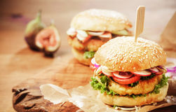 Vegetarian Couscous Burgers with Fresh Toppings Royalty Free Stock Image