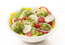 Vegetarian cousine. Dish with salad,peppers,tomatoes,onions isolated on white background Royalty Free Stock Photos