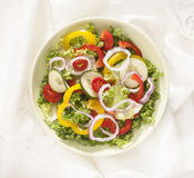 Vegetarian cousine. Dish with salad,peppers,tomatoes,onions isolated on white background Stock Photo