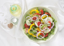 Vegetarian cousine. Dish with salad,peppers,tomatoes,onions and olive oil Stock Photos