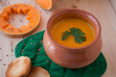 Vegetarian cream soup from a pumpkin with toasts Royalty Free Stock Images