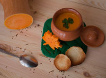 Vegetarian cream soup from a pumpkin with toasts Royalty Free Stock Photo