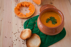 Vegetarian cream soup from a pumpkin with toasts Royalty Free Stock Photography