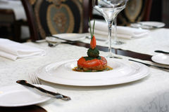 Vegetarian creative food in luxurious restaurant Royalty Free Stock Photos