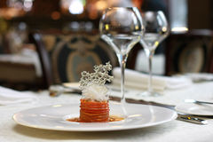 Vegetarian creative food in luxurious restaurant Royalty Free Stock Photos