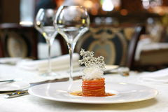 Vegetarian creative food in luxurious restaurant interior Royalty Free Stock Image