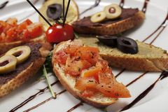 Vegetarian crostini selection Stock Photo
