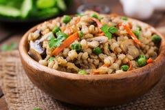 Vegetarian crumbly pearl barley porridge Royalty Free Stock Image