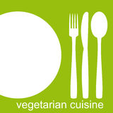 Vegetarian Cuisine. Logo for vegetarian Cuisine as a white shadow outline on a light green background. Vector available Stock Photos