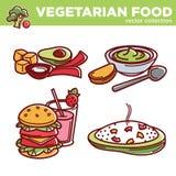 Vegetarian cuisine food dishes or vegan veggie restaurant menu vector isolated icons Royalty Free Stock Photo