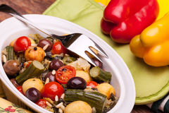 Vegetarian Cuisine - Mix Of Stewed Vegetables Stock Photos