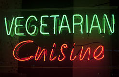 Vegetarian cuisine neon sign Stock Photography
