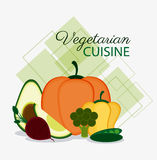 Vegetarian cuisine organic and healthy food design. Avocado pumpkin onion pepper and broccoli icon. Vegetarian cuisine organic and healthy food theme. Colorful Royalty Free Stock Images