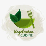 Vegetarian cuisine organic and healthy food design. Bowl fork and leaves icon. Vegetarian cuisine organic and healthy food theme. Colorful design. Vector Stock Photo