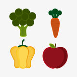 Vegetarian cuisine organic and healthy food design. Broccoli carrot pepper and apple icon. Vegetarian cuisine organic and healthy food theme. Colorful design Royalty Free Stock Image