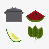 Vegetarian cuisine organic and healthy food design. Cooking pot avocado leaves and watermelon icon. Vegetarian cuisine organic and healthy food theme. Colorful Royalty Free Stock Images