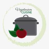 Vegetarian cuisine organic and healthy food design. Cooking pot tomato and leaf icon. Vegetarian cuisine organic and healthy food theme. Colorful design. Vector Stock Photo