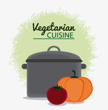 Vegetarian cuisine organic and healthy food design. Cooking pot and vegetables icon. Vegetarian cuisine organic and healthy food theme. Colorful design. Vector Royalty Free Stock Photo