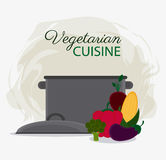 Vegetarian cuisine organic and healthy food design. Cooking pot and vegetables icon. Vegetarian cuisine organic and healthy food theme. Colorful design. Vector Stock Photos