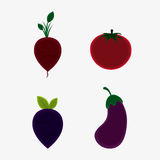 Vegetarian cuisine organic and healthy food design. Onion eggplant and tomato icon. Vegetarian cuisine organic and healthy food theme. Colorful design. Vector Stock Photo