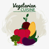 Vegetarian cuisine organic and healthy food design. Pepper onion eggplant cob and broccoli icon. Vegetarian cuisine organic and healthy food theme. Colorful Royalty Free Stock Images